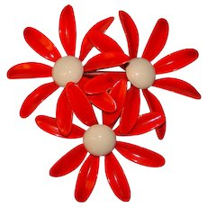 Awesome 1960s RED ORANGE Enamel Flower Power Vintage Brooch