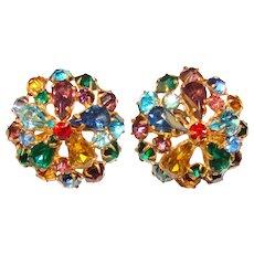 Fabulous CZECH Multi Color Rhinestones Vintage Earrings