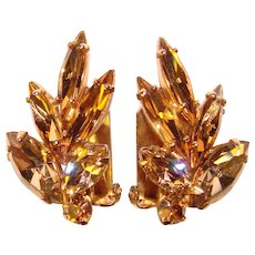 Sparkling FAWN Colored Skinny Navette Vintage Rhinestone Clip Earrings