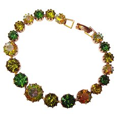 Fabulous SHADES OF GREEN Vintage Aurora Rhinestone Bracelet