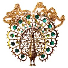 Fabulous Large PEACOCK Green Rhinestone Vintage Pendant Necklace
