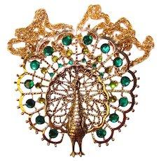 Fabulous Large PEACOCK Green Rhinestone Vintage Pendant Necklace