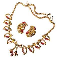 Fabulous COLORED AURORA Vintage Rhinestone Necklace Set