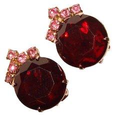 Fabulous Vintage RED & PINK Rhinestone Clip Earrings