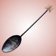 Antique Sterling & Enamel CHRISTOPHER COLUMBUS SHIP Souvenir Spoon