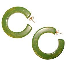 Gorgeous GREEN BAKELITE Vintage Hoop Earrings