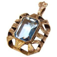 Fabulous 900 SILVER Jugendstil Design Vintage Blue Stone Pendant