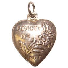 Fabulous Sterling PUFFY HEART Forget Me Not Charm