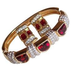 Fabulous SWAROVSKI SAL Signed Red Rhinestone Set - Bracelet & Earrings Vintage