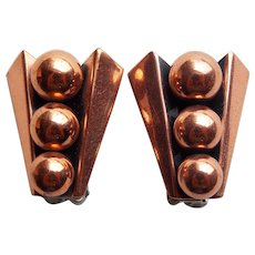 Signed RENOIR Modernist Spheres Vintage Estate Clip Earrings