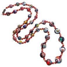 Fabulous Italian Italy Millefiori Glass Beads Vintage Necklace