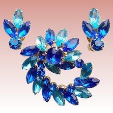 Fabulous Bright Blue & Aqua Rhinestone Vintage Brooch Set