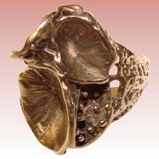 Fabulous Sterling Modernist CRATER Design Vintage Ring
