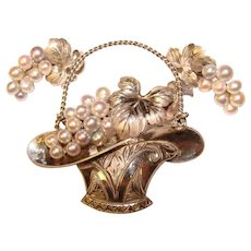 Fine Vintage STERLING & PEARL Flower Basket Brooch Set
