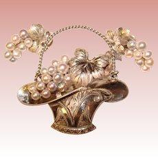 Fine Vintage STERLING & PEARL Flower Basket Brooch Set
