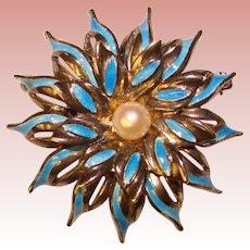 Fabulous STERLING ENAMEL Cultured Pearl Vintage Brooch