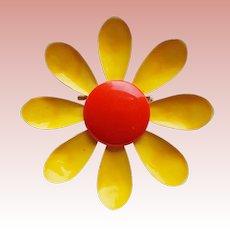 1960s Flower Power Yellow & Orange Enamel Vintage Brooch