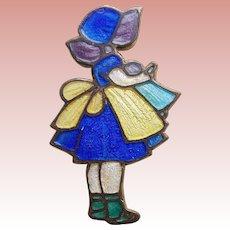 Enamel Girl in Blue Dress with Bonnet Vintage Brooch