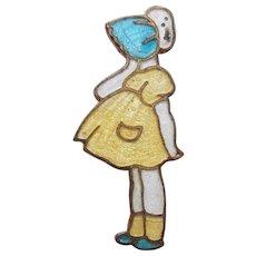 Enamel Girl in Yellow Dress with Bonnet Vintage Brooch