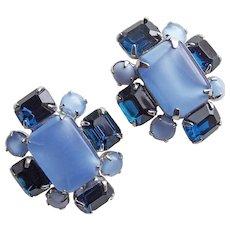 Gorgeous Blue Satin Glass & Rhinestone Vintage Earrings