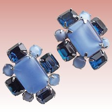 Gorgeous Blue Satin Glass & Rhinestone Vintage Earrings