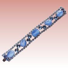 Gorgeous Blue Satin Glass & Rhinestone Vintage Bracelet