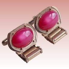 Awesome Raspberry MOONGLOW LUCITE Vintage Wrap Cufflinks - Signed Swank