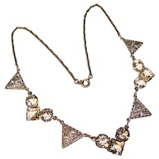 Fabulous ART DECO Filigree & Clear Glass Stones Necklace
