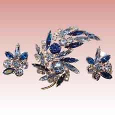 Fabulous BLUE NAVETTE Rhinestone Vintage Brooch Set