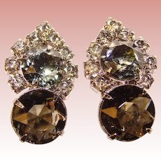 Gorgeous Smoke Glass Rhinestone Vintage Clip Earrings