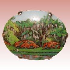 Gorgeous Porcelain Landscape Scene Vintage Brooch