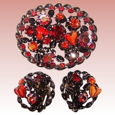 Fabulous AUSTRIA Red Orange Glass Hearts Rhinestone Brooch Set