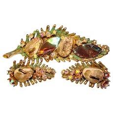 Fabulous HAR Dragon Tooth Brooch & Earrings Set