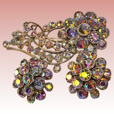 Fabulous Signed Colorful AURORA RHINESTONE Vintage Brooch Set