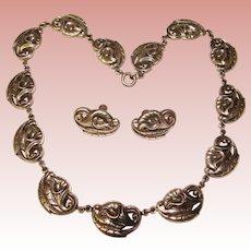 Fabulous DANECRAFT STERLING Calla Lily Design Vintage Necklace Set