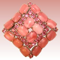 Fabulous PINK SATIN GLASS Rhinestone Vintage Brooch