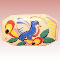 Gorgeous POOLE POTTERY Vintage Painted Bird Brooch