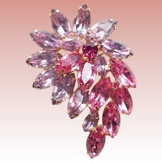 Gorgeous PINK & LAVENDER RHINESTONE Vintage Pin Brooch - Spring Summer Colors