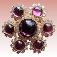 Gorgeous Glowing PURPLE GLASS & Rhinestone Vintage Brooch