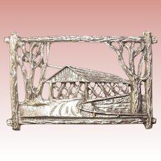Gorgeous BEAU STERLING Signed Covered Bridge Design Vintage Brooch