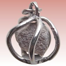 Sterling CAGED STONE Rock Vintage Charm - Souvenir of Indiana - Empire Quarry Limestone