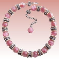 Gorgeous PINK GIVRE GLASS Frosted Beads Vintage Necklace - Spring & Summer Colors