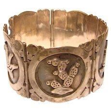 Fabulous MARICELA TAXCO STERLING Mexican Signed Panel Bracelet