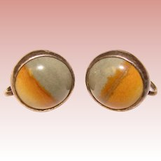 Fabulous STERLING Picture Stone Vintage Southwest Earrings
