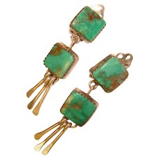 Gorgeous ANNA BEGAY Sterling Turquoise Dangle Clip Earrings