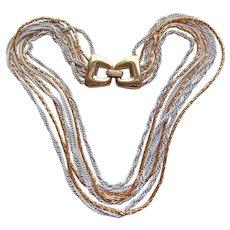 Awesome Trifari Signed Multi Chain Vintage Necklace - Goldtone & White Enamel