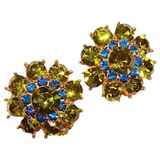 Gorgeous GREEN & BLUE Colored Rhinestone Vintage Clip Earrings