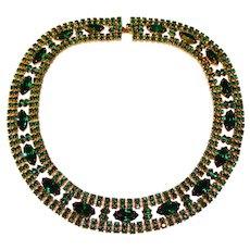 Fabulous GREEN RHINESTONE Vintage Collar Necklace