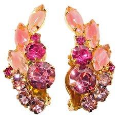 Fabulous D&E JULIANA Pink Rhinestone Vintage Clip Earrings