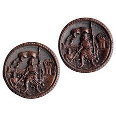 Antique Picture Story Large Buttons - King & Castle - Pair